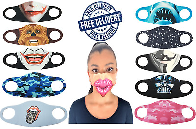 Novelty Mouth Covering Face Protection PPE Masks Washable Breathable Masks • 3.99£