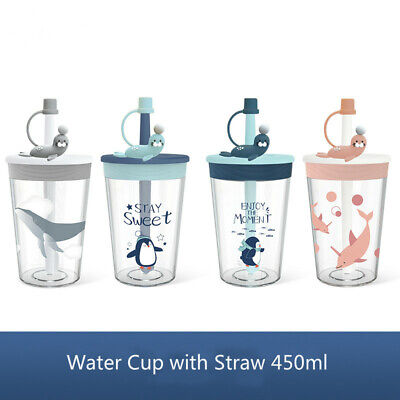 Children Kids Drinking Cup Water Bottle With Straws Cute Pattern Outdoor Sports • 9.99£