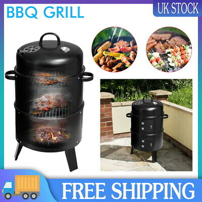 Smoker BBQ Charcoal Grill Portable Outdoor Barbecue Meat Food Cooking Drum Oven • 32.99£
