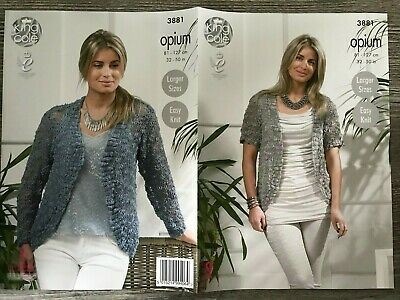 King Cole Opium Knitting Pattern: Ladies Edge To Edge Cardigans, 32-50 , 3881 • 3.29£