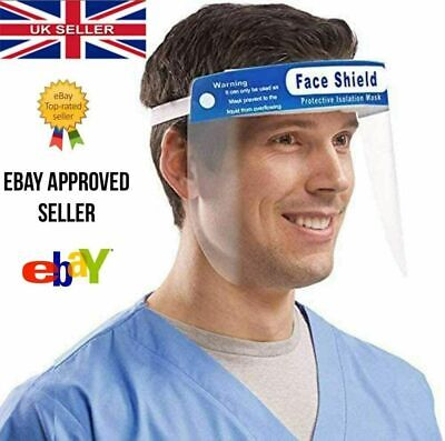 Full Face Visor Shield Guard Mask Cover PPE Safety Clear Plastic Anti-Fog UK • 5.99£