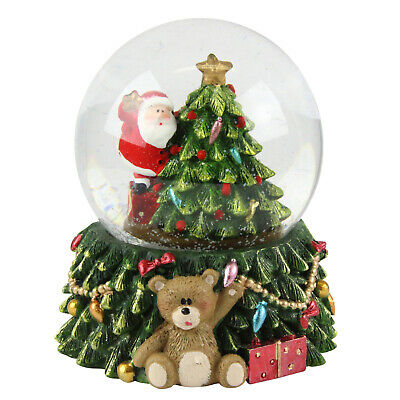 LED Santa Christmas Tree Snow Globe Gisela Graham Festive Xmas Decoration • 13.45£
