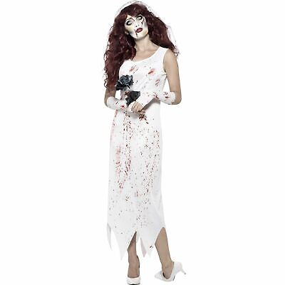 Zombie Bride Blood Splatter Dress Horror Halloween Ladies Womens Fancy Dress • 14.19£