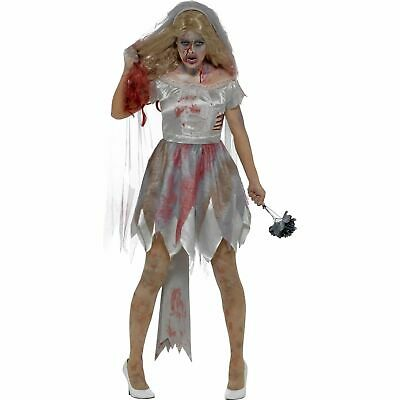 Grey Deluxe Zombie Bride Halloween Horror Womens Ladies Fancy Dress Costume • 15.39£