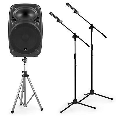 Auna Streetstar Mobile PA System Set 12  PA Speaker 2 X Microphone Stand DJ Sub • 249.99£
