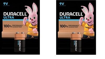 2 X Duracell 9v Pp3 Ultra Power Alkaline Batteries Pp3 Square Smoke Alarm • 5.99£