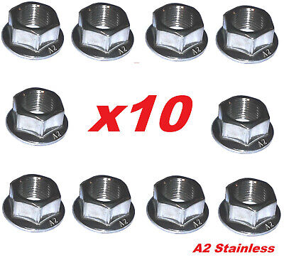 A2 M10 X 1.25 Metric Fine Flange Nuts (Packs Of 10) - Multi-Listing • 8.95£
