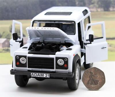 PERSONALISED PLATE 1/24 White Land Rover Defender 90 Boys Toy Dad Boxed Present • 19.95£