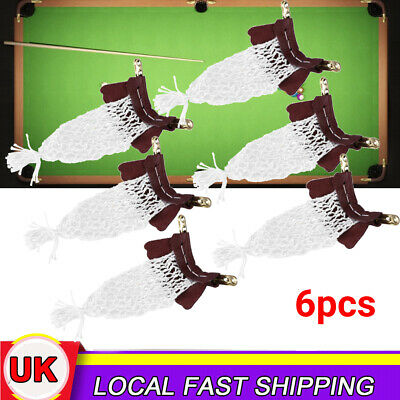 6Pcs Cow Leather Billiards Tables Nets Snooker Pockets Mesh Bag Replacement Kit • 13£