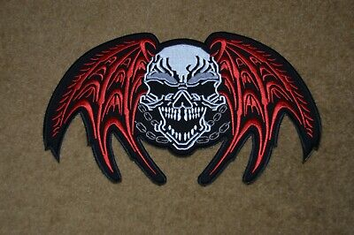 GOTHIC WINGED SKULL Back Patch Heat Transfer Iron Or Sew On • 4.99£