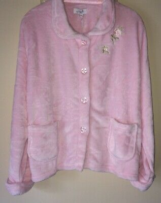New Ladies Soft Fleece Embroidered  Bed Jacket Nightwear *3 Colours*la Marquise* • 17.50£