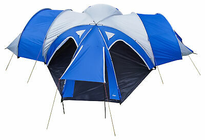 Andes 3 Bedroom + 1 Living Room 6-8 Man Family Camping Tent Tunnel 3000mm Blue • 199.99£