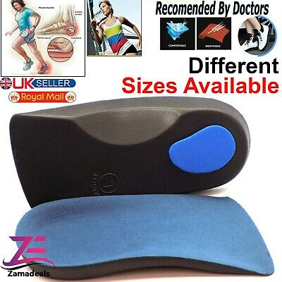 3/4 Orthotic Arch Support Insoles For Plantar Fasciitis Fallen Arches Flat Feet • 3.75£