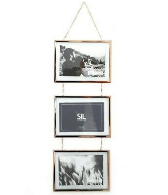 3 Triple 4x6 Rose Gold Copper Floating Metal Glass Multi Photo Frame Wall Chain  • 14.95£