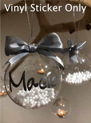 Personalised Custom Name Vinyl Stickers For Christmas Baubles Decor Adhesive • 1.25£