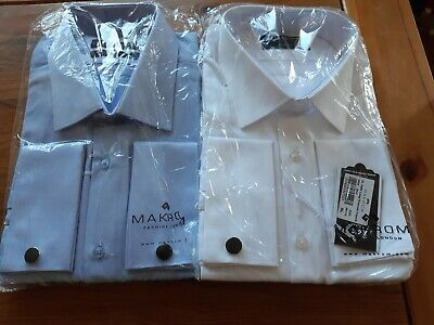 Bnwt Makrom Mens Formal Business French  Cuff Cotton L / S Shirts - Blue - White • 13.99£