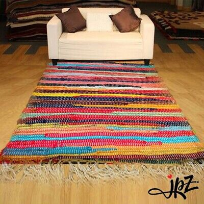 New Recycle Mat Handmade Cotton Multi Colour Chindi Rag Area Rug UK • 18.99£