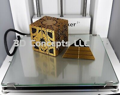 Hellraiser Cube Puzzle Box - Gold Over Black PLA With Large Stand • 34.59£