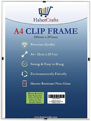 £3.99 • Buy Clip Frame A4 Size Frameless Picture Frame Photo Poster Certificate Non Glass