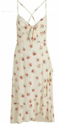 New Look Dress Curve Size 12 & 18 Off White Tie Front Floral Midi Dress GA98 • 12.99£