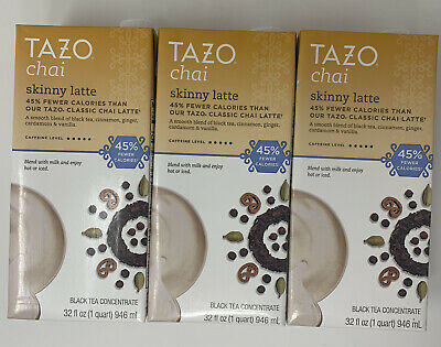 TAZO SKINNY Chai Concentrated Black Tea Latte 32 Oz - 3 Ct Best By June 2020 • 22.90£