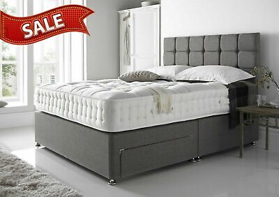 SUEDE MEMORY FOAM DIVAN BED SET WITH MATTRESS HEADBOARD 3FT 4FT6 Double 5FT King • 329.99£