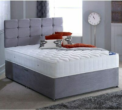 SUEDE MEMORY FOAM DIVAN BED SET WITH MATTRESS HEADBOARD 3FT 4FT6Double 5FT King • 189.99£