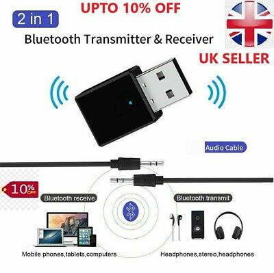 £3.49 • Buy USB Bluetooth 5.0 Audio Transmitter + Receiver Adapter For TV PC Car AUX Speaker