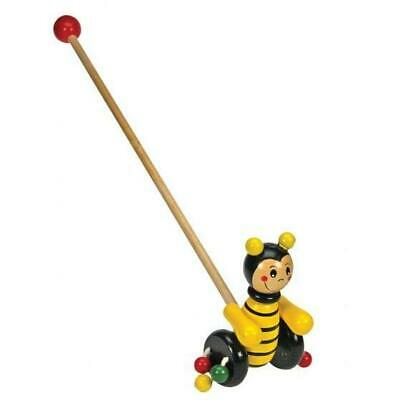 ABGEE Push Along Bee, Wooden Push Along Toddler Wheelie Toy With Handle • 14.99£