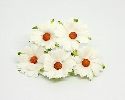 10 Large Mulberry Paper Daisy/Chamomile Flower WHITE Card Making Paper Crafting  • 3.15£
