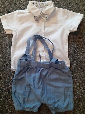 £8.50 • Buy Baby Boys Summer Smart Shirt,shorts, Bow Tie 3-6:months Excellent Condition