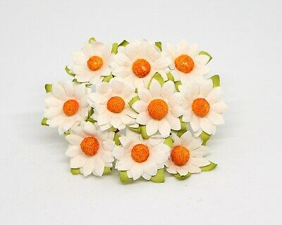 10 Medium Mulberry Paper Daisy/Chamomile Flower WHITE Card Making Paper Crafts • 2.59£