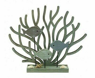 £14.95 • Buy Coral & Fish On A Stand Wooden Ornament Nautical Seaside Coastal Design