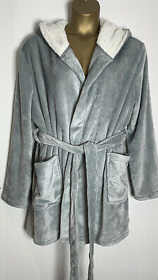 Asos Grey Soft Velour Fleece Jersey Hooded Short Dressing Gown Size 18 Curve New • 17.50£