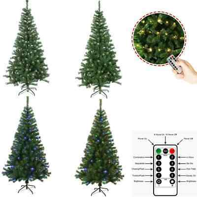 4/5/6/7ft Christmas Tree Artificial Deluxe With USB LED Remote Lights Stand  • 24.99£