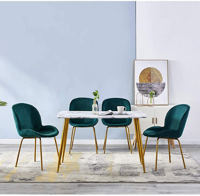 Blue Velvet Metal Legs Dining Chair And Marble Patten Dining Table Set (2 Or 4) • 94.97£