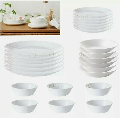 £6.94 • Buy Dinner Set White Ikea Durable,Extra Resistant Plate Bowl  Made In FRANCE