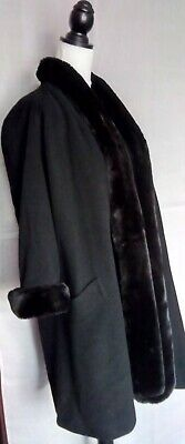 Alexon Black Wool Blend Faux Fur Trim Open Long Coat Size 8 10 12 Glam 1920s • 24.99£