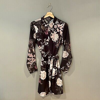 Lipsy Black Button Up Shirt Dress With Floral  Pattern Size 10 • 18£