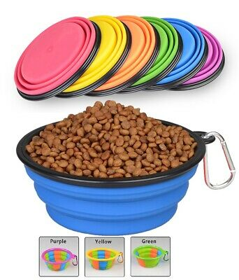 Pet Dog Cat Feeding Collapsible Bowl Travel Compact Silicone Pop Up Dish Feeder • 2.95£