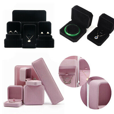 AU8.28 • Buy Velvet Flock Jewellery Ring Watch Necklace Bracelet Pendant Gift Box Black/Pink
