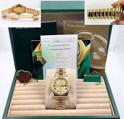 $ CDN27242.07 • Buy Rolex President Day Date 118238 Champagne Roman Dial 18K Yellow Gold Box Papers