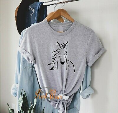 £8.95 • Buy Horse Silhouette Ladies T Shirt Horse's Head  Horse Riding Pony Also Kids Sizes