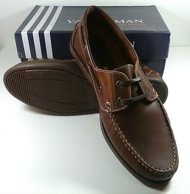 Mens Brown Real Leather Yachtsman Seafarer Lace Up Deck Shoe 13 14 • 49.99£