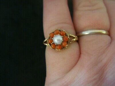 Vintage Natural Salmon Coral & Pearl 9ct Gold Ring Uk Hallmarks Size M 2.6 Grms • 119.99£