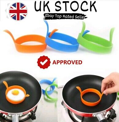 Silicone Egg Frying Rings Fry Fried Poacher Mould Perfect For Pancakes  Ring! • 3.49£