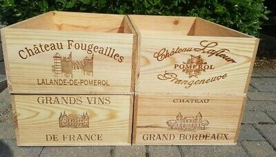 Pack Of 4 - French Wooden Wine Boxes 12 Bottle Size Over Runs - Storage Drawers • 59.95£