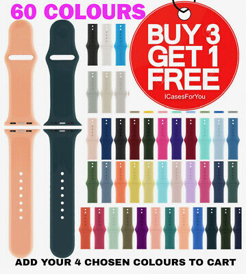 £2.90 • Buy For Apple Watch IWatch SILICONE Sport Strap Band Series 6 SE 5 4 3 38/40/42/44mm