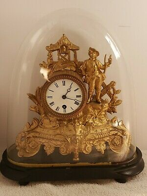 £530.99 • Buy Antique Working 1800s French Victorian Gold Gilt Figural Glass Dome Mantel Clock