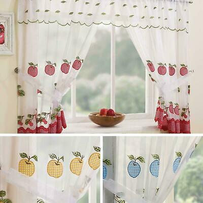 Gingham Curtain Set Winchester Ready Made Complete Embroidered Kicthen Curtains • 16.95£